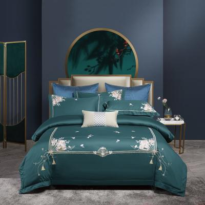 2020新款-居家100支绣花四件套 1.8m床单款四件套 曼丽 墨绿色