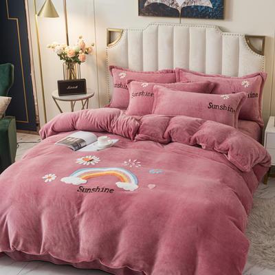 2020新款-牛奶绒毛巾绣四件套 1.8m床单款四件套 彩虹花园豆沙粉
