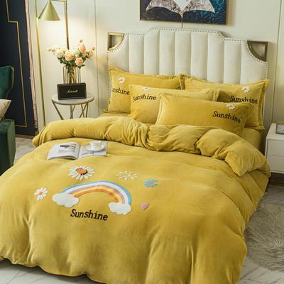 2020新款-牛奶绒毛巾绣四件套 1.8m床单款四件套 彩虹花园梵高黄
