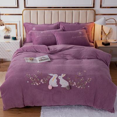 2020新款牛奶绒四件套玉兔呈祥 1.8m(6英尺)床 浅紫