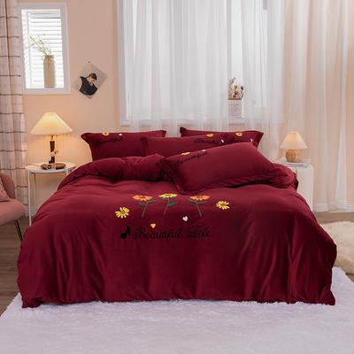 2020新款-保暖水晶绒四件套灿烂花开 1.8m床单款四件套 酒红