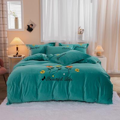 2020新款-保暖水晶绒四件套灿烂花开 1.8m床单款四件套 绿