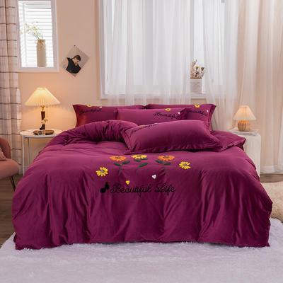 2020新款-保暖水晶绒四件套灿烂花开 1.8m床单款四件套 深紫