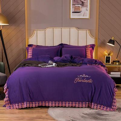 2020新款-水晶绒四件套欧式田园 1.8m床单款四件套 紫色