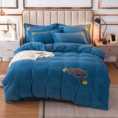 2020新款-保暖牛奶绒四件套水果乐园 1.5m床单款四件套 蓝色