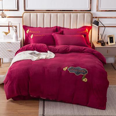 2020新款-保暖牛奶绒四件套水果乐园 1.5m床单款四件套 红色