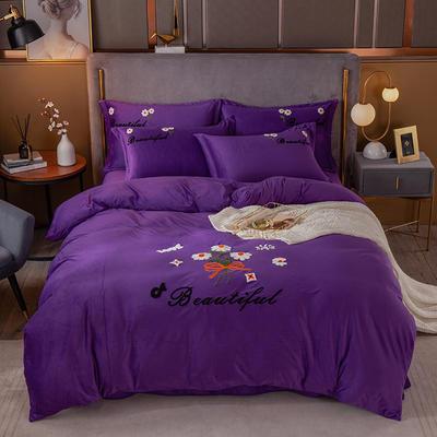 2020新款-水晶绒四件套如花似锦 1.8m床单款四件套 紫色