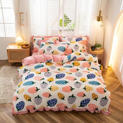 2020新款-韩版丽丝绒四件套 1.8m床单款四件套 草莓甜心