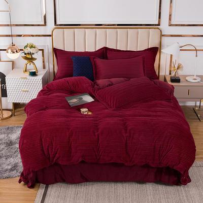 2020新款-丽丝绒四件套简爱系列 1.5m床单款四件套 红色