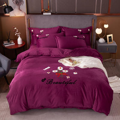 2020新款-水晶绒四件套如花似锦 1.8m床单款四件套 紫红