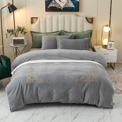 2020新款-牛奶绒四件套皇家花园 1.8m床单款四件套 灰色