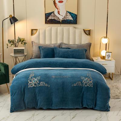 2020新款-牛奶绒四件套皇家花园 1.8m床单款四件套 蓝色
