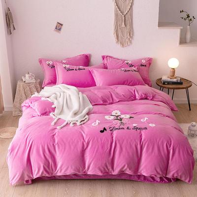 2020新款-水晶绒四件套秋菊绽放 1.8m床单款四件套 粉色