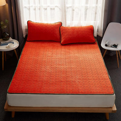 2020新款氨纶超柔乳胶保暖垫乳胶毛毯乳胶床垫三件套 1.8m床垫款三件套 爱玛橙