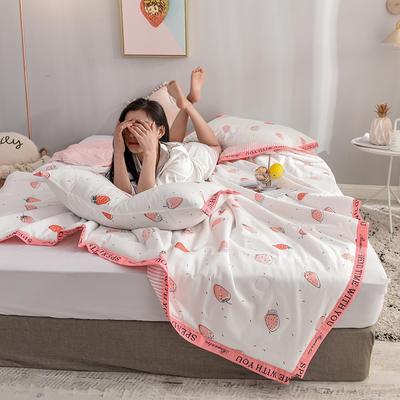 丽度 新品全棉小清新字母边夏被套件 INS风亲肤舒适全棉夏凉被 150x200cm 粉草莓