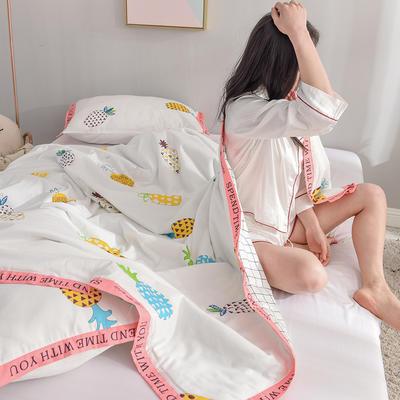 丽度 新品全棉小清新字母边夏被套件 INS风亲肤舒适全棉夏凉被 枕套一对 菠萝