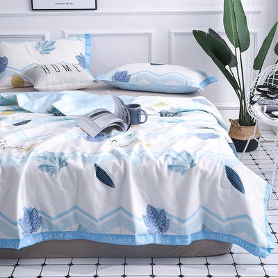 丽度 新品全棉小清新字母边夏被套件 INS风亲肤舒适全棉夏凉被 枕套一对 海洋