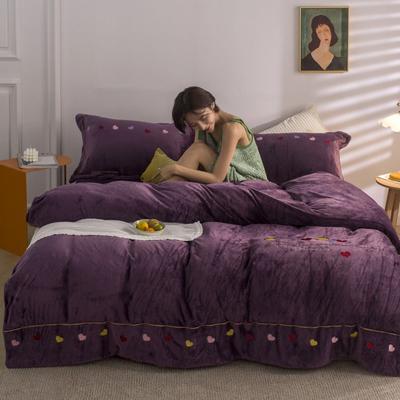 2020新款-网红爆款法莱绒牛奶绒刺绣款四件套爱心 1.5m床单款四件套 爱心-紫