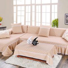 新款促销韩式田园竹节棉沙发全盖布四季可用色布艺沙发巾沙发垫 抱枕55*55cm 雏菊驼