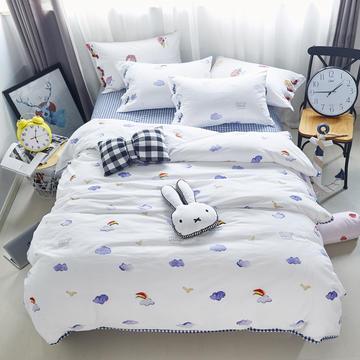 玖玖爱印花款水洗棉四件套系列 200x230cm(标准床单款) 彩色天空(电子档花型)