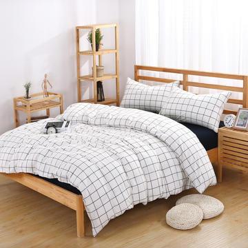 水洗棉四件套 床单款200*230cm 四季白蓝