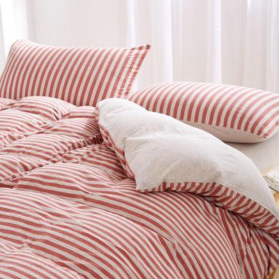 针织棉套件 1.5m(5英尺)床 中咖中条