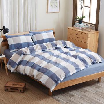 水洗棉四件套 床单款200*230cm 蓝灰大格
