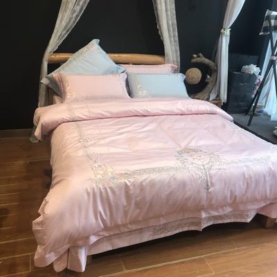 贡缎绣花系列 1.5m(5英尺)床 塞纳风情茱萸粉