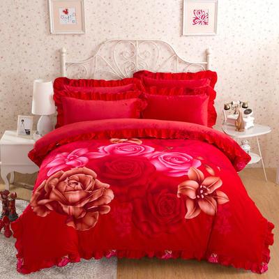 意尚风情  韩版磨毛水晶绒 标准 大爱玫瑰