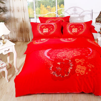 意尚风情  磨毛四件套 标准 真爱永恒大红