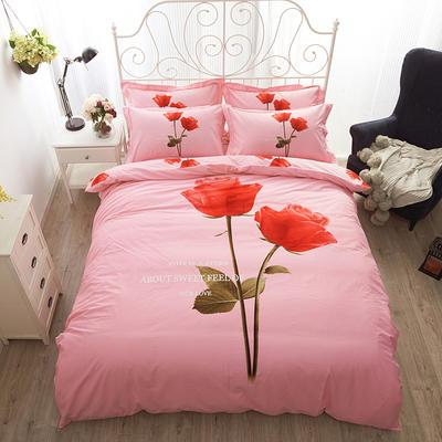 17年大版活性印花磨毛四件套0729 (3) 标准(1.5m床/1.8m床) 久久玫瑰-粉
