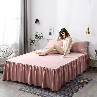 2019新款-水洗天丝床裙三件套 150*200*40cm*1 恋曲-豆沙