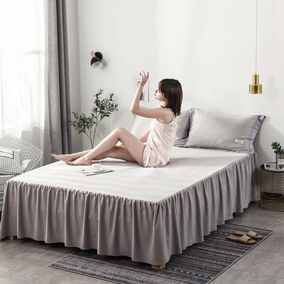 2019新款-水洗天丝床裙三件套 150*200*40cm*1 恋曲-灰色