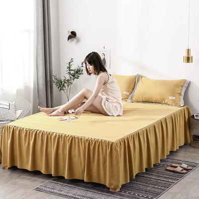 2019新款-水洗天丝床裙三件套 150*200*40cm*1 恋曲-姜黄