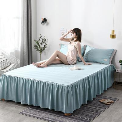 2019新款-水洗天丝床裙三件套 150*200*40cm*1 恋曲-水蓝
