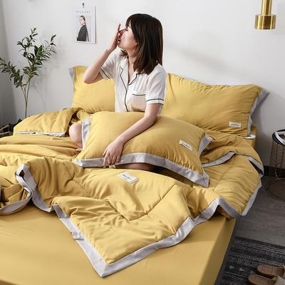 2019新款-水洗天丝单品夏被 150x200cm 恋曲-姜黄
