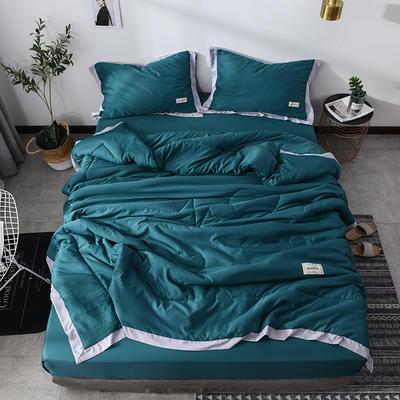 2019新款-水洗天丝单品床裙 150cmx200cm 恋曲-深绿