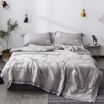 2019新款-水洗天丝夏被四件套 1.8米夏被床单款200x230cm 恋曲-灰色