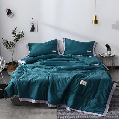 2019新款-水洗天丝夏被四件套 1.8米夏被床单款200x230cm 恋曲-深绿