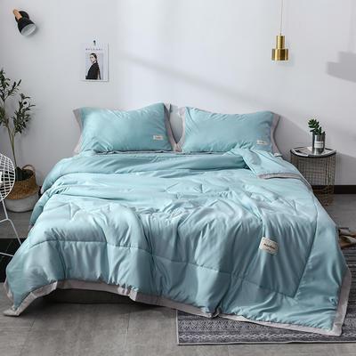 2019新款-水洗天丝夏被四件套 1.8米夏被床单款200x230cm 恋曲-水蓝