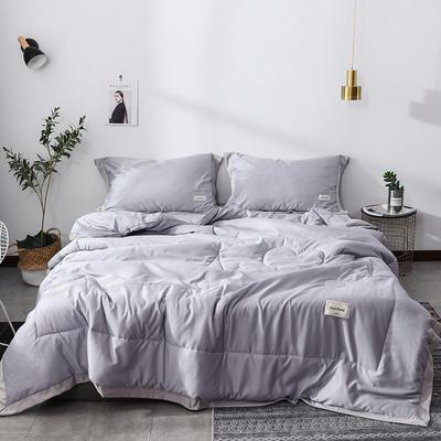 2019新款-水洗天丝夏被四件套 1.8米夏被床单款200x230cm 恋曲-银灰