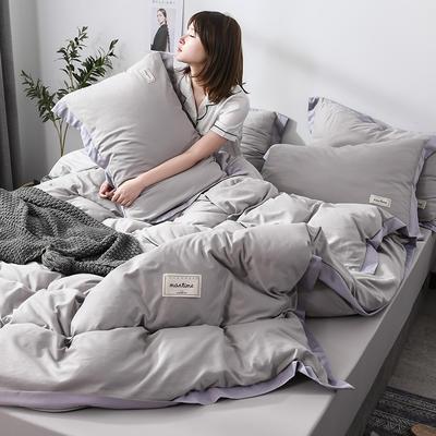 2019新款-水洗天丝四件套 床单款1.5m床-1.8m床 恋曲-灰色