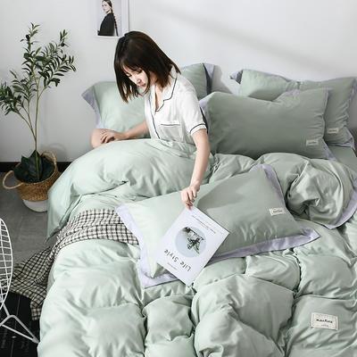 2019新款-水洗天丝四件套 床单款1.5m床-1.8m床 恋曲-军绿