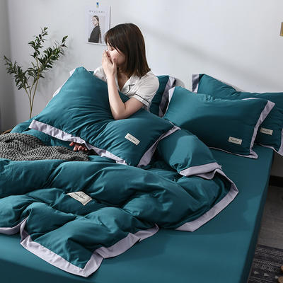 2019新款-水洗天丝四件套 床单款1.5m床-1.8m床 恋曲-深绿