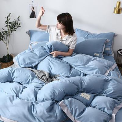 2019新款-水洗天丝四件套 床单款1.5m床-1.8m床 恋曲-天蓝