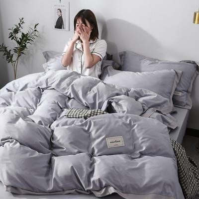 2019新款-水洗天丝四件套 床单款1.5m床-1.8m床 恋曲-银灰