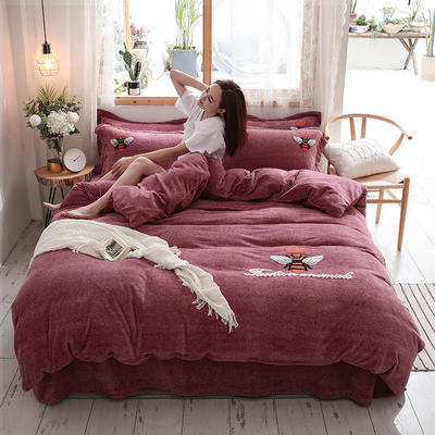 2019新款-加厚牛奶绒毛巾绣四件套 床单款四件套1.5m(5英尺)床 小黄蜂 豆沙