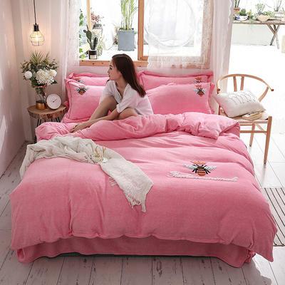 2019新款-加厚牛奶绒毛巾绣四件套 床单款四件套1.5m(5英尺)床 小黄蜂 粉红