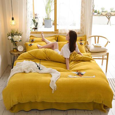 2019新款-加厚牛奶绒毛巾绣四件套 床单款三件套1.2m(4英尺)床 小黄蜂 姜黄