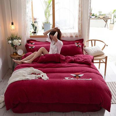 2019新款-加厚牛奶绒毛巾绣四件套 床单款四件套1.5m(5英尺)床 小黄蜂 酒红